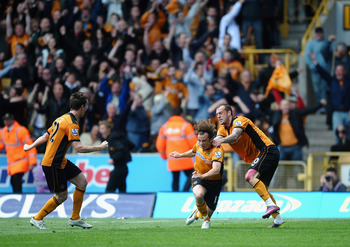 WOLVERHAMPTON, ENGLAND - MAY 22: Stephen Hunt of Wolverhampton Wanderers celebrates his goal with Steven Fletcher during the Barclays Premier League match between Wolverhampton Wanderers and Blackburn Rovers at Molineux on May 22, 2011 in Wolverhampton, E