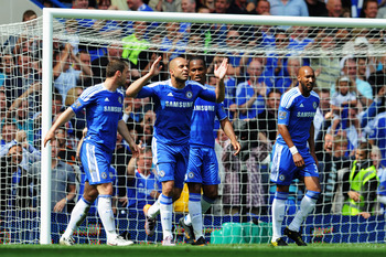 LONDON, ENGLAND - MAY 15:  Alex (2L) of Chelsea celebrates with team mates after scoring his sides second goal during the Barclays Premier League match between Chelsea and Newcastle United at Stamford Bridge on May 15, 2011 in London, England.  (Photo by