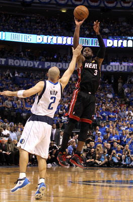 DALLAS, TX - JUNE 09:  Dwyane Wade #3 of the Miami Heat attempts a shot against Jason Kidd #2 of the Dallas Mavericks in the fourth quarter of Game Five of the 2011 NBA Finals at American Airlines Center on June 9, 2011 in Dallas, Texas.  NOTE TO USER: Us