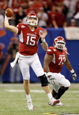 NEW ORLEANS, LA - JANUARY 04:  Ryan Mallett #15 of the Arkansas Razorbacks looks to pass in the first half against the Ohio State Buckeyes during the Allstate Sugar Bowl at the Louisiana Superdome on January 4, 2011 in New Orleans, Louisiana.  (Photo by M