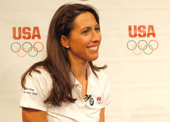 NEW YORK, NY - JULY 27:  Olympic athlete Janet Evans  is interviewed during a press conference by the BMW Performance Team held at New York Skylight West on July 27, 2011 in New York City.  (Photo by Michael Cohen/Getty Images for BMW)