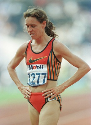 21 Jun 1996: A dejected Mary Decker Slaney walks off the track after failing to qualify for the finals of the 1500m event during the US Track & Field Trials at the Olympic Stadium in Atlanta, Georgia.