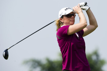 HAIKOU, CHINA - OCTOBER 30:  Annika Sorestam of Sweden tees off on the 6th hole during day four of the Mission Hills Start Trophy tournament at Mission Hills Resort on October 30, 2010 in Haikou, China. The Mission Hills Star Trophy is Asia's leading leis