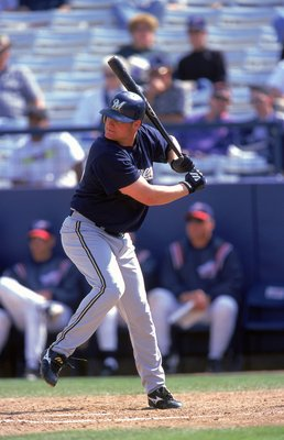 9 Mar 2000: Kevin Barker #22 of the  Milwaukee Brewers steps into the swing during the Spring Training Game against the Anaheim Angels at Tempe Diablo Stadium in Tempe, Arizona. The Angels defeated the Brewers 7-6. Mandatory Credit: Tom Hauck  /Allsport