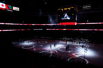 ANAHEIM, CA - JUNE 06:  A general view as Amanda Guerrero sings the Canadian National Anthem before Game Five of the 2007 Stanley Cup finals between the Anaheim Ducks and the Ottawa Senators on June 6, 2007 at Honda Center in Anaheim, California.  (Photo