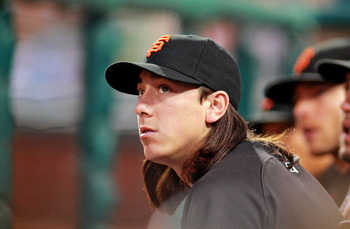 PHILADELPHIA , PA - JULY 27:  Tim Lincecum #55 of the San Francisco Giants looks on against the Philadelphia Phillies at Citizens Bank Park on July 27, 2011 in Philadelphia, Pennsylvania. The Giants defeated the Phillies 2-1.  (Photo by Len Redkoles/Getty