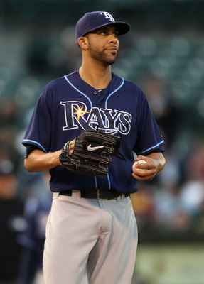OAKLAND, CA - JULY 26:  David Price #14 of the Tampa Bay Rays looks on after giving up a run in the third inning against the Oakland Athletics at the O.co Coliseum on July 26, 2011 in Oakland, California.  (Photo by Jed Jacobsohn/Getty Images)