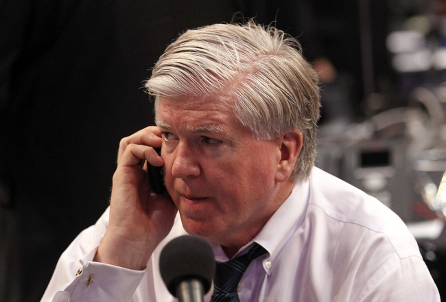 ST PAUL, MN - JUNE 24:  President and GM Brian Burke of the Toronto Maple Leafs looks on during day one of the 2011 NHL Entry Draft at Xcel Energy Center on June 24, 2011 in St Paul, Minnesota.  (Photo by Bruce Bennett/Getty Images)