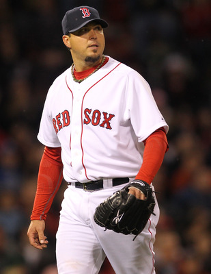 BOSTON, MA - APRIL 10: Josh Beckett #19 of the Boston Red Sox walks off the mound during a game against the New York Yankees at Fenway Park April 10, 2011 in Boston, Massachusetts. (Photo by Jim Rogash/Getty Images)