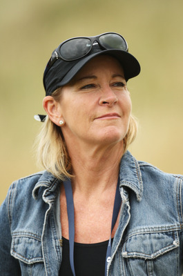 TURNBERRY, SCOTLAND - JULY 16:  Tennis Legend Chris Evert follows Greg Norman's match during round one of the 138th Open Championship on the Ailsa Course, Turnberry Golf Club on July 16, 2009 in Turnberry, Scotland.  (Photo by Ross Kinnaird/Getty Images)