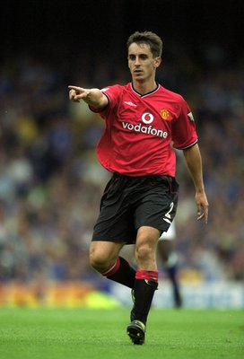 16 Sep 2000:  Gary Neville of Manchester United in action during the FA Carling Premiership match against Everton at Goodison Park, in Liverpool, England. Manchester United won the match 3-1. \ Mandatory Credit: Mark Thompson /Allsport