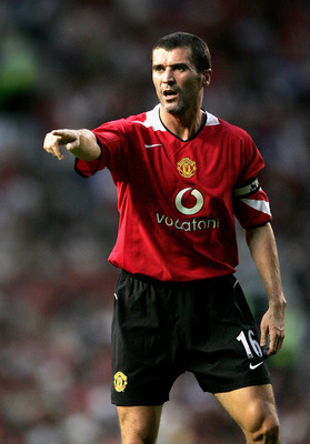MANCHESTER, ENGLAND - AUGUST 9:  Roy Keane of Manchester United during the Champions League third qualifying round, first leg match between Manchester United and Debreceni VSC at Old Trafford on August 9, 2005 in Manchester, England.  (Photo by Clive Brun