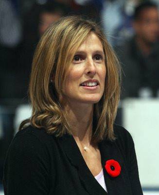 TORONTO, ON - NOVEMBER 06: Cammi Granato is honored for her induction into the Hockey Hall of Fame prior to the game between the Toronto Maple Leafs and the Buffalo Sabres at the Air Canada Centre on November 6, 2010 in Toronto, Canada.  (Photo by Bruce B