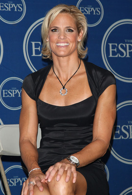 LOS ANGELES, CA - JULY 15:  Olympic swimmer Dara Torres, recipient of the Best Comeback award poses in the press room during the 2009 ESPY Awards held at Nokia Theatre LA Live on July 15, 2009 in Los Angeles, California. The 17th annual ESPYs will air on