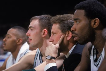 16 Mar 2000: Mateen Cleaves #12 of the Michigan St. Spartans sits with Head Coach Tom Izzo, A.J. Granger #43 and Morris Peterson #42 during the first round of the NCAA Tournament Game against the Valparaiso Crusaders at the Cleveland State University Conv