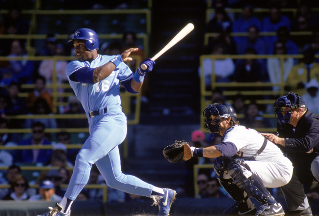 1990:  Bo Jackson #16 of the Kansas City Royals watches the flight of the ball as he follows through on his swing during a game in the 1990 season.  (Photo by Jonathan Daniel/Getty Images)
