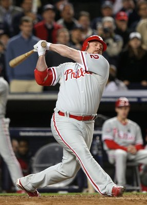 NEW YORK - OCTOBER 29:  Matt Stairs #12 of the Philadelphia Phillies bats against the New York Yankees in Game Two of the 2009 MLB World Series at Yankee Stadium on October 29, 2009 in the Bronx borough of New York City. The Yankees won 3-1. (Photo by Jed