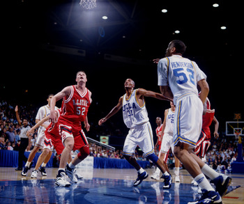 28 DEC 1994:  UCLA FORWARDS ED O'BANNON AND J.R. HENDERSON SET TO GRAB THE THE REBOUND, ALONG WITH NORTH CAROLINA STATE CENTER TODD FULLER DURING THE BRUINS 88-80 VICTORY OVER THE WOLFPACK AT PAULEY PAVILLION IN WESTWOOD, CALIFORNIA. Mandatory Credit: Mik