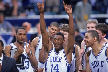 12 Mar 2000: The Duke Blue Devils celebrate on the court after the ACC Tournament against the Maryland Terrapins at the Charlotte Coliseum in Charlotte, North Carolina. The Blue Devils defeated the Terrapins 81-68. Mandatory Credit: Craig Jones  /Allsport