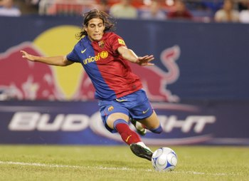 EAST RUTHERFORD, NJ - AUGUST 06:  Jose Martin Caceres #2 of FC Barcelona plays the ball against the New York Red Bulls at Giants Stadium in the Meadowlands on August 6, 2008 in East Rutherford, New Jersey. Barcelona won 6-2.  (Photo by Mike Stobe/Getty Im