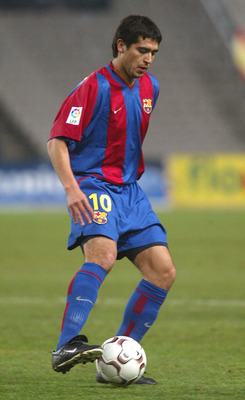 BARCELONA - FEBRUARY 15:  Juan Rom?n Riquelme of Barcelona in action during the La Liga match between Barcelona and Espanyol Barcelona played at the Nou Camp Stadium on February 15, 2003 in Barcelona. (Photo by Firo Foto/Getty Images)