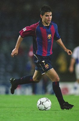 22 Sep 2001:  Javier Saviola of Barcelona runs with the ball during the Spanish Primera Liga match against Tenerife played at the Nou Camp, in Barcelona, Spain. Barcelona won the match 2-0. \ Picture taken by Nuno Correia \ Mandatory Credit: AllsportUK  /