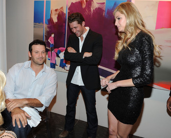 DALLAS, TX - FEBRUARY 05:  (L-R) Dallas Cowboys Quarterback Tony Romo, actor Matthew Morrison and television personality Erin Andrews attend a private dinner hosted by Audi during Super Bowl XLV Weekend at the Audi Forum Dallas on February 5, 2011 in Dall