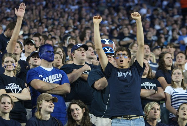 PROVO, UT - SEPTEMBER 19:  Brigham Young University Cougars fans during the game against Florida State Seminoles at La Vell Edwards Stadium on September 19, 2009 in Provo, Utah.  (Photo by Melissa Majchrzak via Getty Images)