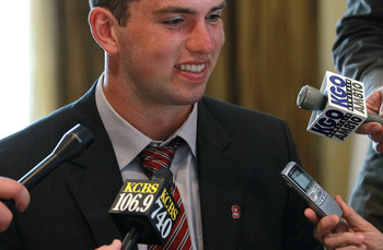 SAN FRANCISCO, CA - AUGUST 01:  Stanford quarterback Andrew Luck talks with reporters during the Bay Area college football media day at the Hotel Nikko on August 1, 2011 in San Francisco, California.  Players and coaches from Stanford, Cal and San Jose St