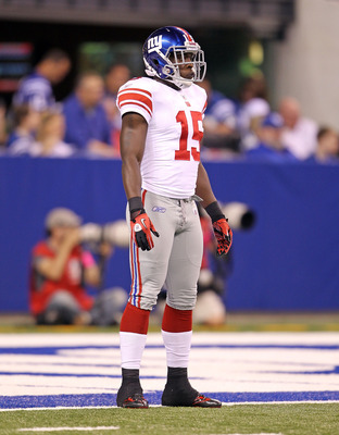 INDIANAPOLIS - SEPTEMBER 19:  Darius Reynaud #15 of the New York Giants is pictured during the NFL game against the Indianapolis Colts at Lucas Oil Stadium on September 19, 2010 in Indianapolis, Indiana.  (Photo by Andy Lyons/Getty Images)