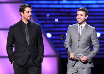 LOS ANGELES, CA - JULY 13:  (L-R) NFL player Aaron Rodgers and actor Justin Timberlake present the ESPY for Best Male College Athlete during The 2011 ESPY Awards at Nokia Theatre L.A. Live on July 13, 2011 in Los Angeles, California.  (Photo by Kevin Wint