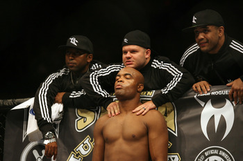 CHICAGO- OCTOBER 25:  Anderson Silva prepares before the Middleweight Title Bout at UFC's Ultimate Fight Night at Allstate Arena on October 25, 2008 in Chicago, Illinois. (Photo by Tasos Katopodis/Getty Images)