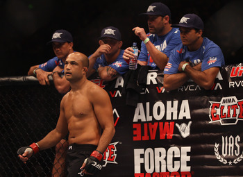SYDNEY, AUSTRALIA - FEBRUARY 27:  BJ Penn of the USA looks across the octagon at John Fitch of the USA before the start of their welterweight bout part of UFC 127 at Acer Arena on February 27, 2011 in Sydney, Australia.  (Photo by Mark Kolbe/Getty Images)