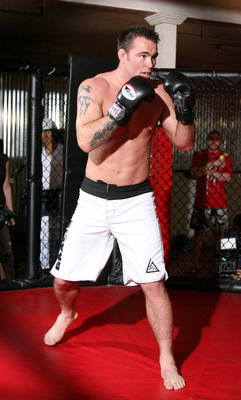 HOLLYWOOD - MARCH 17:  Strikeforce World Lightweight Champion Gilbert 'El Nino' Melendez and Strikeforce World Middleweight Champion Jake Shields attend the CBS' Strikeforce MMA Fighters Open Media Workout on March 17, 2010 in Hollywood, California.  (Pho