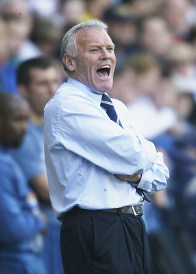 BOLTON, ENGLAND - MAY 2:  Leeds United coach Eddie Gray shouts orders to his players during the FA Barclaycard Premiership match between Bolton Wanderers and Leeds United at The Reebok Stadium, on May 2, 2004 in Bolton, England.  (Photo by Gary M.Prior/Ge