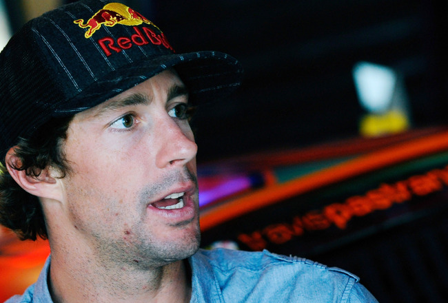 HUNTERSVILLE, NC - JULY 20:  Travis Pastrana, driver of the #99 Boost Mobile Toyota, speaks to the media during a press conference held at Michael Waltrip Racing on July 20, 2011 in Huntersville, North Carolina. (Photo by Jason Smith/Getty Images for Mich