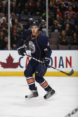 EDMONTON, CANADA - DECEMBER 16: Taylor Hall #4 of the Edmonton Oilers skates against the Columbus Blue Jackets on December 16, 2010 at Rexall Place in Edmonton, Alberta, Canada. (Photo by Dale MacMillan/Getty Images)