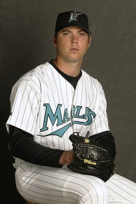 26 Feb 2002:  Josh Beckett #61 of the Florida Marlins is pictured  during  the Marlins media  day at  at their spring training facility in Viera , Florida. DIGITAL IMAGE.