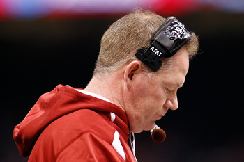 NEW ORLEANS, LA - JANUARY 04:  Head coach Bobby Petrino of the Arkansas Razorbacks looks down in the third quarter against the Ohio State Buckeyes during the Allstate Sugar Bowl at the Louisiana Superdome on January 4, 2011 in New Orleans, Louisiana.  (Ph