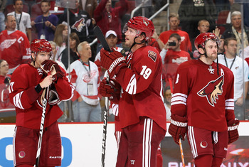 GLENDALE, AZ - APRIL 20:  (L-R) Radim Vrbata #17, Shane Doan #19 and Keith Yandle #3 of the Phoenix Coyotes react after being defeated by the Detroit Red Wings in Game Four of the Western Conference Quarterfinals during the 2011 NHL Stanley Cup Playoffs a