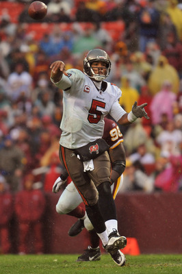 LANDOVER, MD - DECEMBER 12:  Josh Freeman #5 of the Tampa Bay Buccaneers passes against the Washington Redskins  at FedExField on December 12, 2010 in Landover, Maryland. The Buccaneers defeated the Redskins 17-16. (Photo by Larry French/Getty Images)