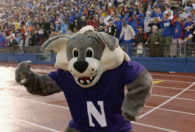 LAWRENCE, KS - AUGUST 30:  Northwestern University Wildcats mascot, Willie, peforms during the game against the University of Kansas Jayhawks at Memorial Stadium on August 30, 2003 in Lawrence, Kansas. Northwestern defeated Kansas 28-20. (Photo by Dave Ka