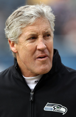 CHICAGO, IL - JANUARY 16:  Head coach Pete Carroll of the Seattle Seahawks looks on during pregame warmups before the Seahawks take on the Chicago Bears in the 2011 NFC divisional playoff game at Soldier Field on January 16, 2011 in Chicago, Illinois.  (P