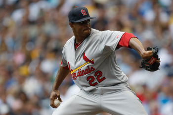 MILWAUKEE, WI - AUGUST 03: Edwin Jackson #22 of the St. Louis Cardinals pitches against the Milwaukee Brewers at Miller Park on August 3, 2011 in Milwaukee, Wisconsin. (Photo by Scott Boehm/Getty Images)