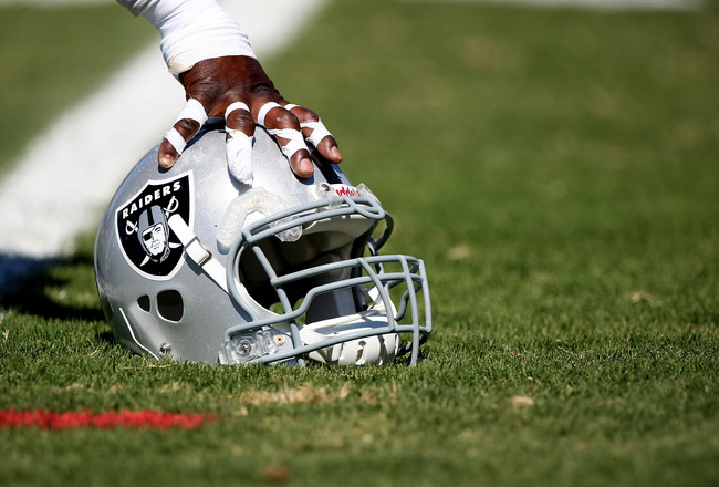 NAPA, CA - AUGUST 05:  A detail of a helmet during the Oakland Raiders Training Camp at the Napa Valley Marriott on August 5, 2009 in Napa, California.  (Photo by Jed Jacobsohn/Getty Images)