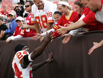CLEVELAND - SEPTEMBER 19:  Cornerback Brandon Flowers #24 of the Kansas City Chiefs celebrates with fans after their game against the Cleveland Browns at Cleveland Browns Stadium on September 19, 2010 in Cleveland, Ohio.  (Photo by Matt Sullivan/Getty Ima