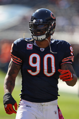 CHICAGO - OCTOBER 17: Julius Peppers #90 of the Chicago Bears participates in warm-ups before a game against the Seattle Seahawks at Soldier Field on October 17, 2010 in Chicago, Illinois. The Seahawks defeated the Bears 23-20. (Photo by Jonathan Daniel/G