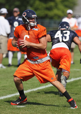 BOURBONNAIS, IL - JULY 30:  Jay Cutler #6 of the Chicago Bears works out during a summer training camp practice at Olivet Nazarene University on July 30, 2011 in Bourbonnais, Illinois.  (Photo by Jonathan Daniel/Getty Images)