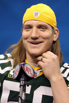 ARLINGTON, TX - FEBRUARY 01:  A.J. Hawk #50 of the Green Bay Packers addresses the media during Super Bowl XLV Media Day ahead of Super Bowl XLV at Cowboys Stadium on February 1, 2011 in Arlington, Texas. The Pittsburgh Steelers will play the Green Bay Pa