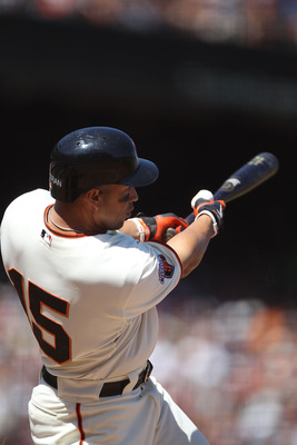 SAN FRANCISCO, CA - AUGUST 03:  Carlos Beltran #15 of the San Francisco Giants triples in the sixth inning against the Arizona Diamondbacks at AT&T Park on August 3, 2011 in San Francisco, California.  (Photo by Jed Jacobsohn/Getty Images)